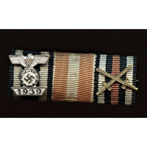 3 place ribbon bar with large style iron cross clasp 2nd class