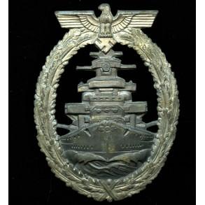 "Kriegsmarine high sea fleet badge by Richard Simm & Sohne ""R.S.&S."""
