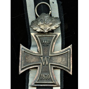 1870 Iron cross 2nd class with 25 year jubilee oak leaf attachment
