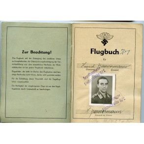 NSFK glider pilot flight booklet to H. Zimmermann, fighter pilot training 1944