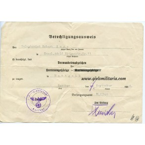 WW1 wound badge in gold award document 1936, Ratibor