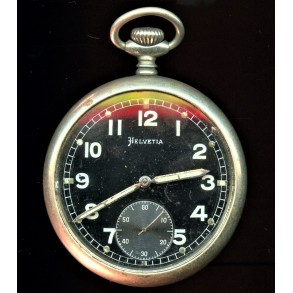 Period German pocket watch by Helvetia, with army issue number