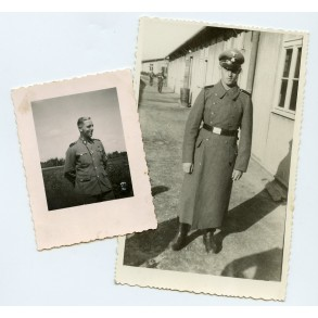 2 SS photos of a decorated SS-Rottenführer near barracks
