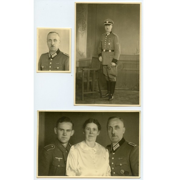 Set of 3 studio portrait photos of a Polizei officer with son