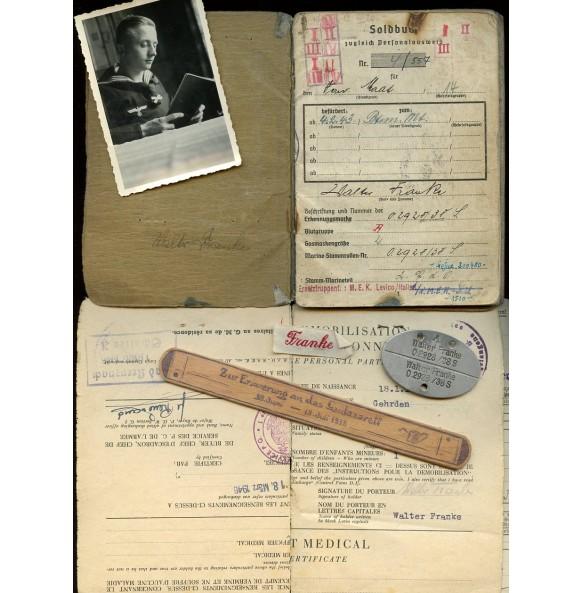 Soldbuch to W. Franke + ID tag, Livrono, Italy 1943-1944, wound badge, EK2.