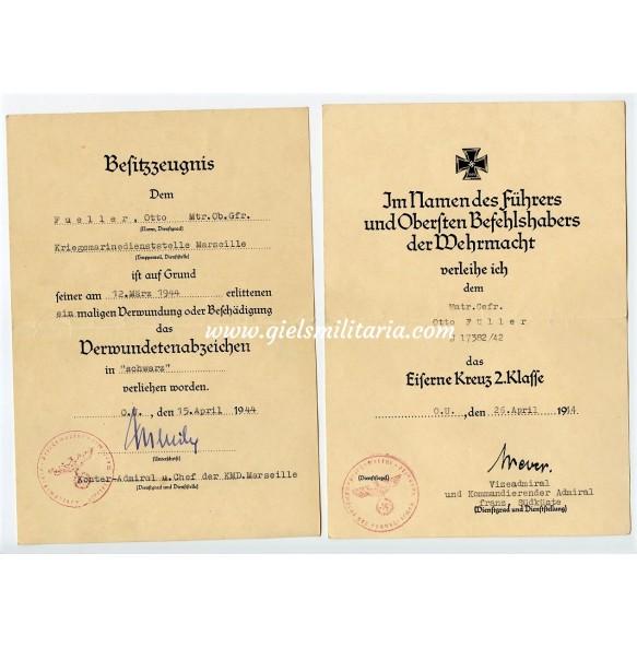 Kriegsmarine award documents Kriegsmarinedienststelle Marseille, France 1944