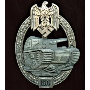 Panzer assault badge in silver 50 assaults by Josef Feix
