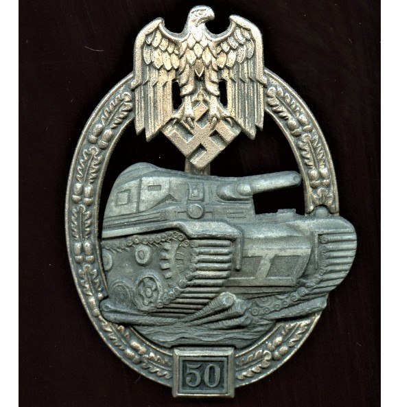 Panzer assault badge in silver 50 assaults by Josef Feix