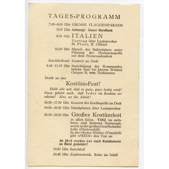 """KdF ship """"Der Deutsche"""" restaurant menu / program 28 nov. 1937"""