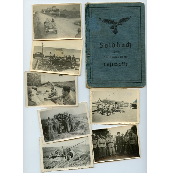 Luftwaffe soldbuch to H. Roskopp, Lei Flak Abt 99 and FJR10 in Africa and Italy + photos 1944-45