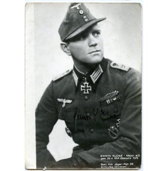 Hand signed photo Knights cross winner Erwin Klose, Jäger Rgt 28