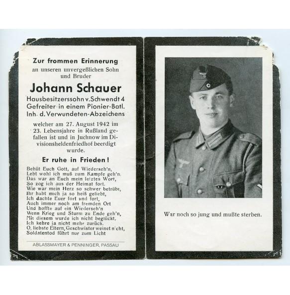 Death card to Gefreiter Pionier J. Schauer, KIA Juchnow area Russia 1942