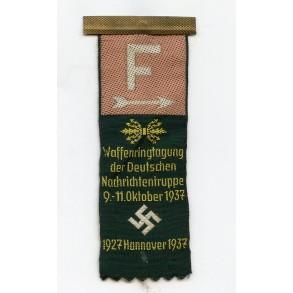 """Cloth / ribbon tinnie """"Waffenringtagung der D. Nachrichtentruppe 1937"""" by Lothar von Dreden & Co, Wuppertal"""