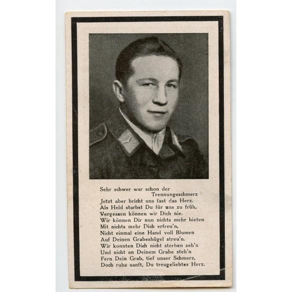 """Death card to Willi Schwarzmeier, GD Army flak unit """"Grossdeutschland"""""""