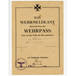 KIA Wehrpass hand over document to Kurt Stier