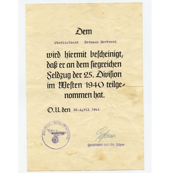 25. ID Blitzkrieg document to Oberleutnant Hermann Hertweck 1940