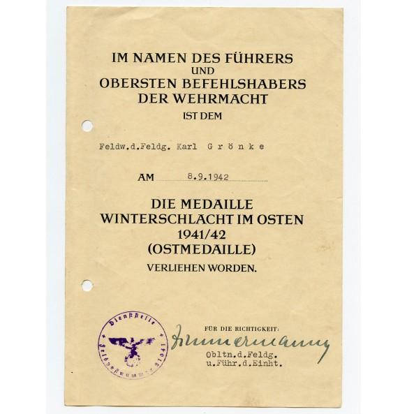 East front medal award document to Feldgendarmerie Feldw. K. Grönke