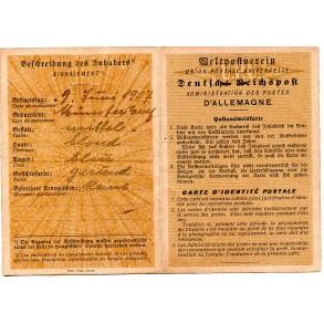 Post identity card to Gerda Penning, French/German 1943