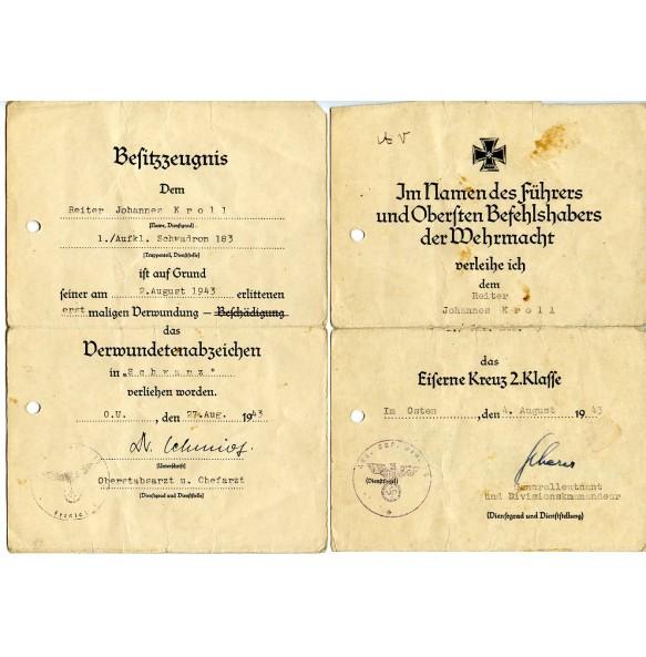 Award documents to Reiter J. Kroll, motorcycle driver in Füs-Bat 83, Aufk. Schw. 183