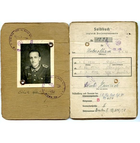 Soldbuch to Obj. E. Heinrich Heer Flak 310, Greece, Gebirgs. Flak Btl 700