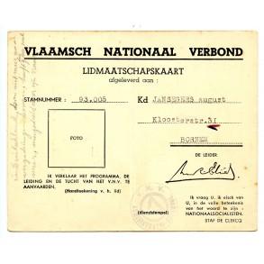 VNV 1943 membership card A. Jansegers, Bornem. War crimes Oudergem 1942!!!