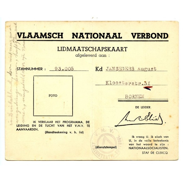 VNV 1943 membership card A. Jansegers, Bornem. War crimes Oudergem 1942!!!