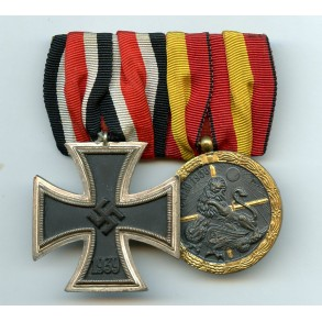 Medal bar with Iron Cross 2nd class and spanish campaign medal