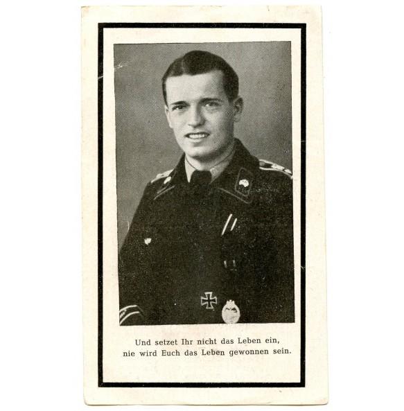 Death card to J. Leis, Pz. Grossdeutschland, EK1, PAB25, KIA 1944