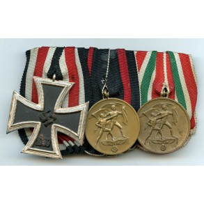 Medal bar with iron cross 2nd class and memel medal