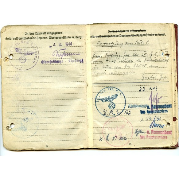 Soldbuch to H. Schmidt, Pz. Art Reg. 74, WIA Normandy 1944, EK2
