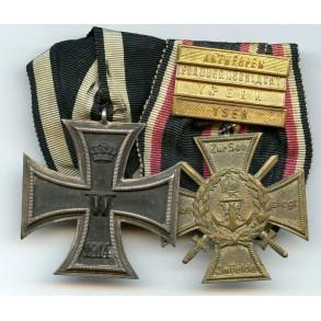 Medal bar with WW1 EK2 and Flanders cross + 4 campaign bars!