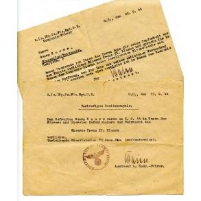 """Pz. Füs. Rgt """"Grossdeutschland"""" EK2 award document 22.9.44"""