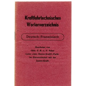 Wehrmacht German French dictionary motor technical vocabulary