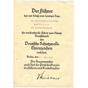Westwall medal award document to Reichsbahn, P. Beyen, München-Gladbach.