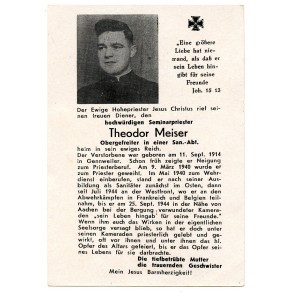 Death card to Priest and OGefr. T Meiser. Belgium, Frace, KIA Aachen 1944