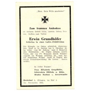 Death card to E. Grundhöfer, Luftwaffe Felddivision, KIA Italy 1944