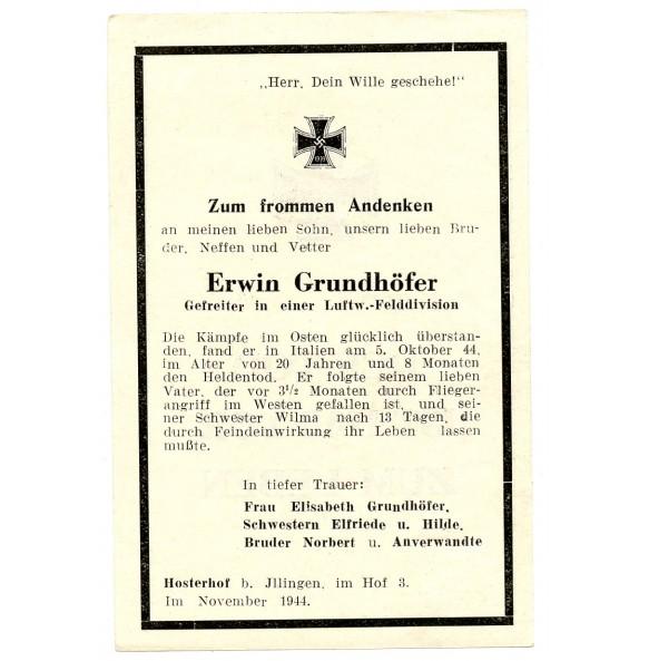 Death card to E. Grundhöfer, Luftwaffe Felddivision, KIA Italy 1944