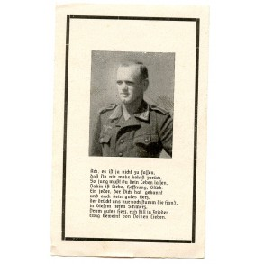 "Death card to A. Altmeier, KIA by ""Résistance"" invasion France 1944"