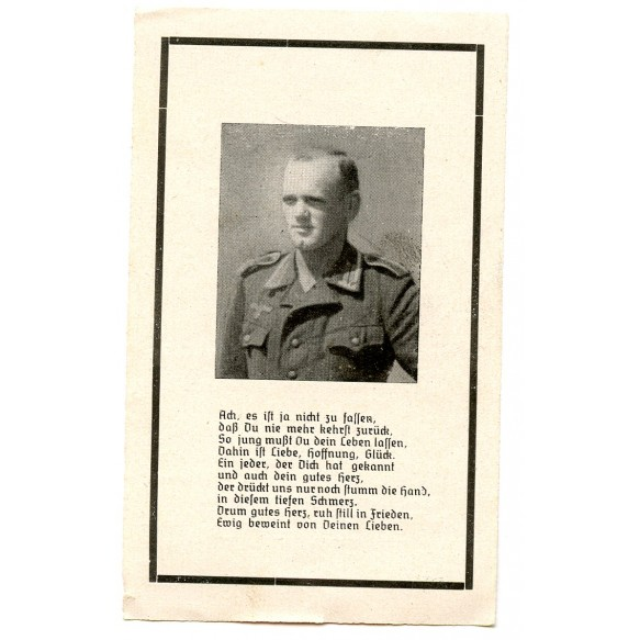"Death card to A. Altmeier, KIA by ""Résistance"" invasion France 1944"