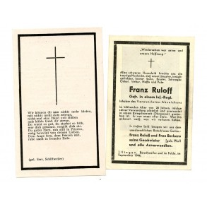 2 Death cards to F. Ruloff, KIA Denmark