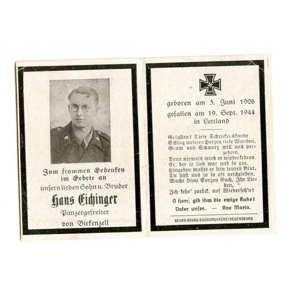 Death card to panzer crew member H. Eichinger, KIA Letvia 1944