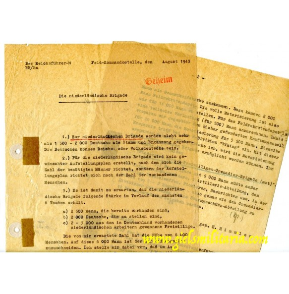 Secret documents foundation Dutch SS volunteer brigades