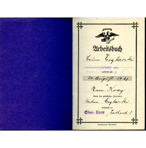 1937 Workers book in the Krupp factory