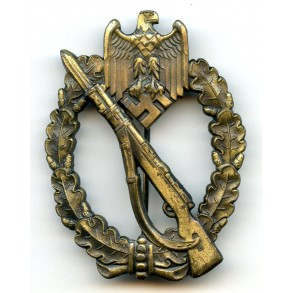 "Infantry assault badge in bronze by Wilhem Deumer ""oval crimp"""