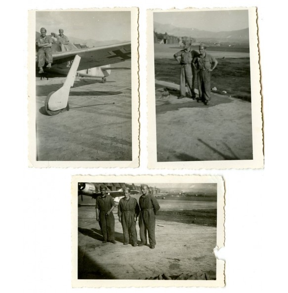 Set of 3 private snapshots with tropical Luftwaffe FW190 on the background