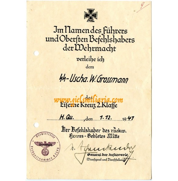 Iron cross 2nd class award document to SS-Uscha. W. Grossmann for anti partisan actions Russia 1941!
