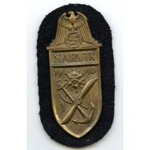 Kriegsmarine Narvik shield in gold