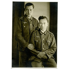 Portrait photo brothers with wound badge in black