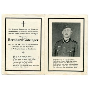 Death card to B. Götzinger, KIA France 1945