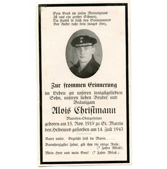 Death card to A. Christmann, KIA St. Martin 1943
